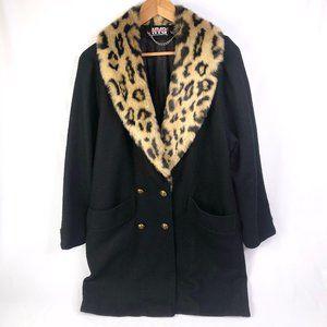 Vintage NYG Leopard Faux Fur Collar Black Coat M/L